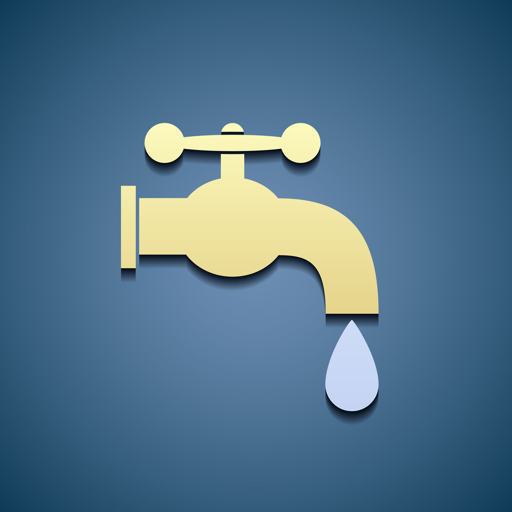 Simple icon tap water. Flat graphics. Stock vector image.