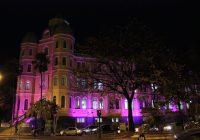 Iluminação em rosa do Colégio e Faculdade Arnaldo, localizado na Avenida Brasil, em Belo Horizonte.