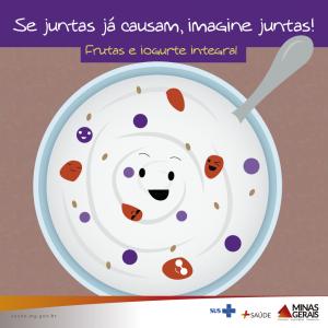 Frutas e iogurte integral