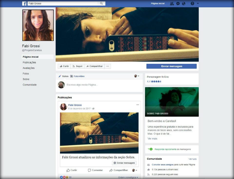 """Print da página da personagem virtual Fabi Grossi, do projeto """"Caretas"""". Foto: Reprodução."""