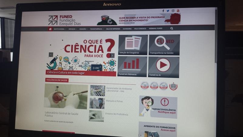 Home do novo site da Fundaçaõ Ezequiel Dias (Funed). Foto: Wander Veroni.